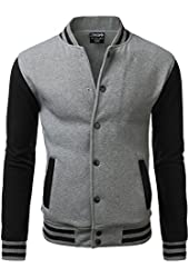 IDARBI Men's Raglan Varsity Baseball Jacket with Pockets
