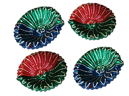 Indian Painted Designer Diwali Diya Set of 4, Perfect Home Décor at Diwali Festive