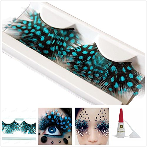 Beauty II Girl Fancy Dress Dance Party Makeup Feather False Eyelashes Eye Lashes Polka Dot Thick Extra Long Cosplay Christmas Halloween Queen Holiday Fun Fake Eyelashes with Glue (Black Blue Color) (False Eyelashes Extra Long compare prices)