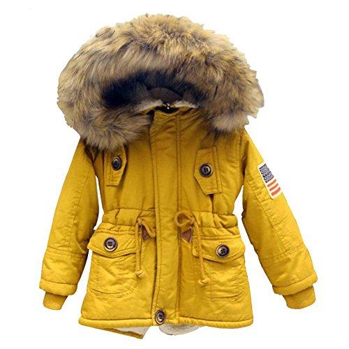 2-7T-Girls-Boys-Winter-Coats-Jackets-Yellow-hooded-Warm-Coats