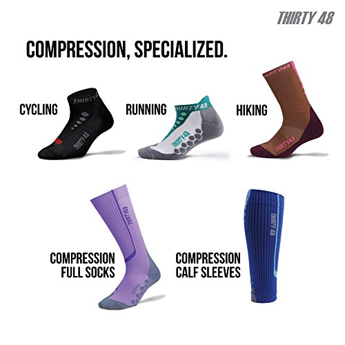 Compression Socks by Thirty48 - 2 Pairs - Graduated Knee High 15-22 mmHg and 20-30 mmHg - CatalystAF design with Arch Support - For Basketball, Running, Soccer, Gym, Nurses, Maternity