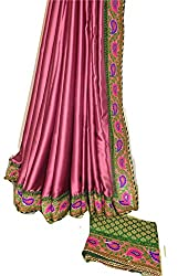 KC Indian Latest Saree Designer Satin with New Border with Contrast Brocade Blouse On Sale Price