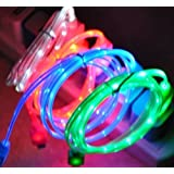 CCKING 3 peces !Illuminated USB Charging Cable Cord for Android System Smartphone, Samsung Galaxy S6 S7 EDGE ,HTC ,SONY,LG(Blue & Green & Red) (Color: red)