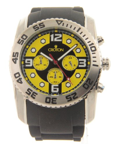 Mens Croton Maccabee Collection Large Rubber Chronograph Sport Watch Cc311292bsyl