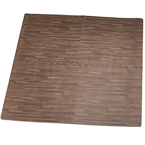 HemingWeigh Printed Wood Grain Interlocking Foam Anti Fatigue Floor Puzzle Mats - Makes a Superior Fitness, workout and exercise mat. Thick, Durable & Safe for all Ages - Set of 4 Tiles (Dark Brown)