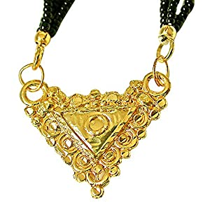 Surat Diamonds Gold Plated Mangalsutra Pendant with Black Kedia Beads Chain 30 IN for Women  MNG3  available at Amazon for Rs.79