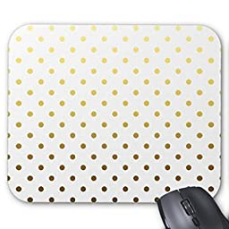 Poem Magine White Gold Polka Dot Rectangle Non-Skip Rubber Mouse Pad 220mm x 180mm x 3mm