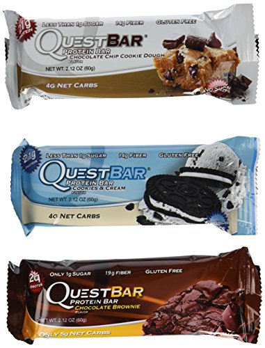 Quest Variety Pack, Chocolate Chip Cookie Dough,Cookies and Cream and Chocolate Brownie, 12 Protein Bars (Quest Bar Brownie compare prices)
