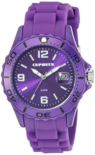 Cepheus Women's Quartz Watch with Purple Dial Analogue Display and Purple Silicone Strap CP603-090A