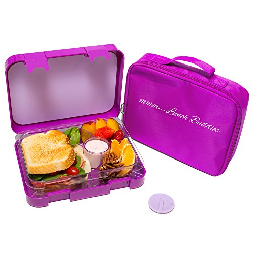 Bento Lunch Box-Purple- by mmm...Lunch Buddies-Double Leak Proof Container-New Dual Latch-Great for Kids or Adults-Carrying Lunch Bag-Healthy Portion Plate-4 Compartment-Microwave-Dishwasher (Lunch Box Insulator compare prices)