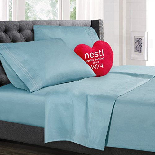 Twin Size Bed Sheets Set, Light Blue Aqua, Highest Quality Bedding Sheet Set, 3-Piece (Single) Bed Set, Extra Deep Pockets Fitted Sheet, 100% Luxury Soft Microfiber, Hypoallergenic, Cool & Breathable (Twin Light Blue Bedding compare prices)