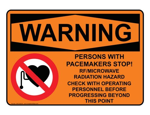 Compliancesigns Vinyl Osha Warning Label, 14 X 10 In. With Mri / X-Ray / Microwave Info In English, Orange