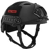 OneTigris アウトドア PJタイプ エアソフトヘルメット 米軍風レプリカ装備 多機能サバゲーヘルメット ロードバイク用  マウントレール付き かっこいいヘルメット オリジナル Fastヘルメット 調整可能 軽量 (ブラック)