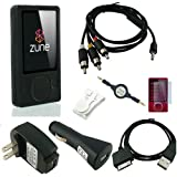 Microsoft Zune 80GB / 120GB Silicone Skin (BLACK) w/ AV Audio Visual / Video Cable, USB 2in1 Sync and Charging Cable along with universal USB Car and Wall / Travel Chargers, Screen Guard / Protector and a Auxiliary 3.5mm to 3.5mm MP3 Jack Cable