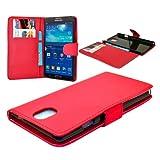 Buena calidad de Samsung Nota 3 Red tirón de la carpeta de la PU de la cubierta del caso de cuero con dos ranuras para tarjetas para Samsung Nota 3