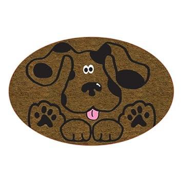 paillasson tapis d 39 entree d 39 entree rond decore d 39 une amusante tete de chien cuisine. Black Bedroom Furniture Sets. Home Design Ideas