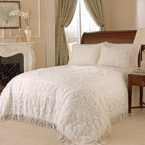 Review Beatrice Home Fashions Medallion Chenille Bedspread, Queen, Ivory