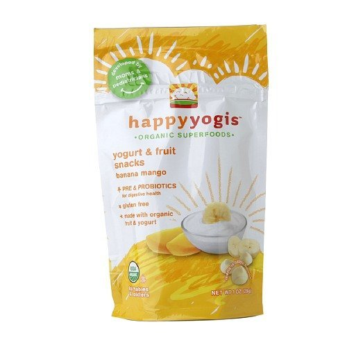 Happy Yogis Organic Yogurt & Fruit Snacks for Babies & Toddlers,, Banana Mango 1 Oz