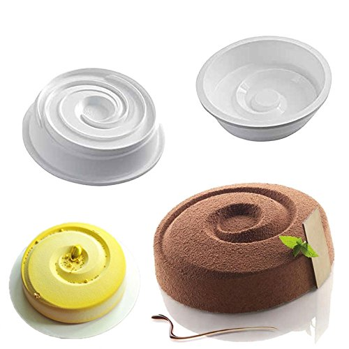 Spiral Design Silicone Mousse Cake Mould Cake Mold Silicone Flexible For Breads Mousse Cake Brownie Ring Cake Cornbread Cheesecake (Odorless Deep Fryer compare prices)
