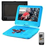 UEME Portable DVD CD Player with 9 Inch LCD Screen, Car Headrest Canvas Case, Remote Control, SD Card Slot and USB Port, Personal DVD Player with Rechargeable Battery PD-0093 (Blue) (Color: Blue)