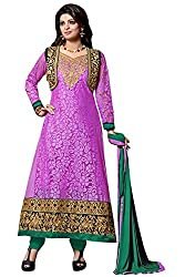 Vibes Womens Net Patch Work Anarkali Dress Material (V226-7007 _Purple _Free Size)