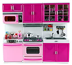 My Happy Kitchen Dishwasher Oven Sink Battery Operated Toy Doll Kitchen Playset W/ Lights, Sounds, Perfect For Use With 11 12
