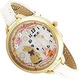 mini ハンドクラフトデコウォッチ 本革ベルト うさぎ 女性に人気の可愛い腕時計 ホワイト MN894-W