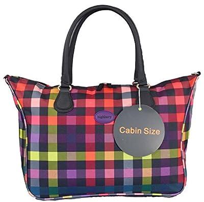 TOP QUALITY Cabin size Travel shoulder bag. Multi checked print.Hand Luggage Piggyback bag.