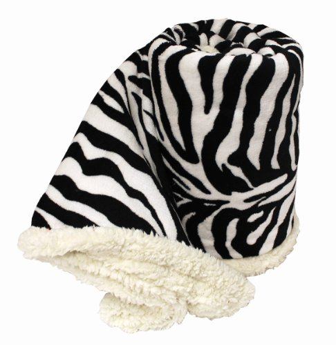 Luxury Microfiber Throw Blanket With Lambswool Sherpa - Zebra back-981089