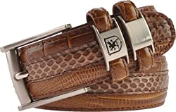Stacy Adams Men's 32mm Genuine Leather Lizard Skin Print Belt With Buckle,US Men's 44,Brown