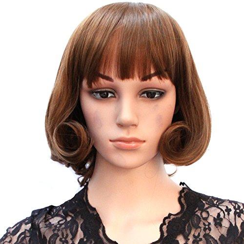 HSG fashion women short curly wigs fluffy full wigs light brown sweet girl wavy bob wigs JFG004