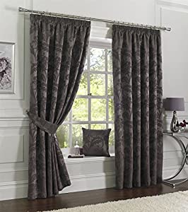 """Plum Jacquard Leaf 46x72"""" Pencil Pleat Fully Lined Curtain Drapes from Curtains"""