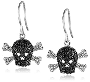 Silver Black and White Diamond Skull Earrings (0.11 cttw, I-J Color, I2-I3 Clarity)
