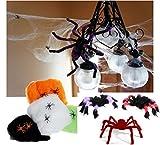 恐怖の館フェイク蜘蛛の巣小蜘蛛入り巨大クモ2匹セットハロウィン装飾飾りデコレーション衣装仮装スパイダーウェブ玄関
