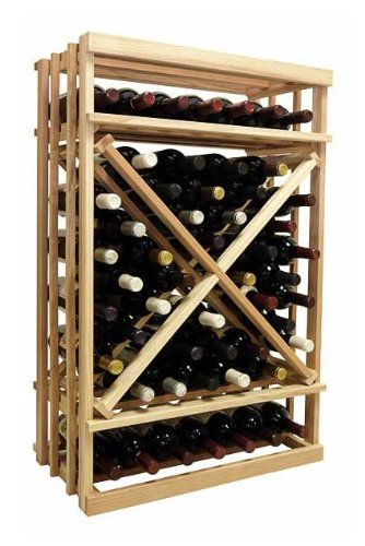 1-Column Open Diamond Cube Wine Rack (Rustic Pine - Midnight Black Stain) front-576447