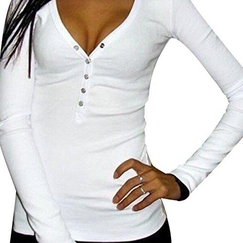 Sannysis® Pulsante maglietta da donna scollo a V sexy punk  Maglie a manica lunga in cotone (bianco, Int'l Size:M  EU:36)