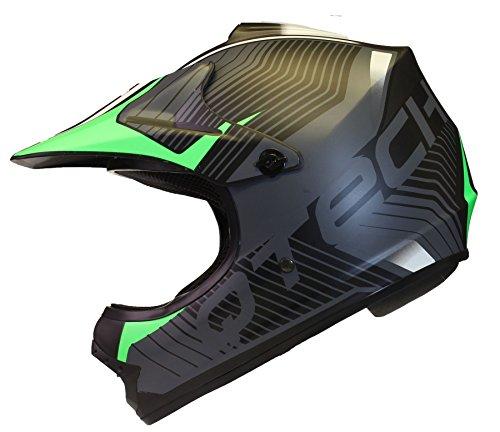 ninos-casco-del-camino-motocross-mx-atv-bmx-negro-mate-nitron-por-qtech-m-55-56cm-verde