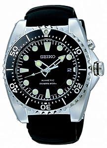 Seiko Men's SKA371P2 Black Rubber Quartz Watch with Black Dial