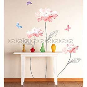 Easy Instant Decoration Wall Sticker Decal - Sketched Stems and Vibrant Flowers