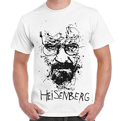 CHEMAGLIETTE! - Maglietta Breaking Bad Heisenberg Walter White Sketch T-Shirt Cotone Uomo, Colore: Bianco, Taglia: M