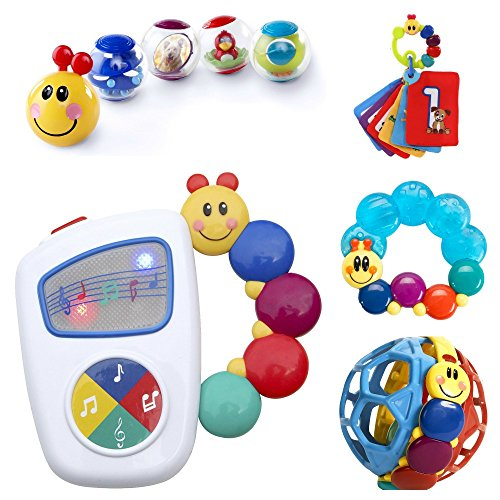 Baby Einstein 9-Piece Essentials Bundle - Take Along Tunes, Shake & Teethe, Caterpillar Rattle and Teethe, Bendy Ball and Roller-Pillar Activity Balls - 1