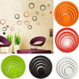 1 Set Circles Creative Stereo Removable 3D DIY Wall Stickers : Green