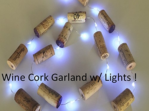 Christmas Garland, Christmas Lights, Wine Cork Garland WITH LIGHTS