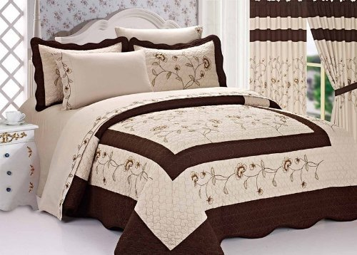 Sale!! 3pc Taupe / Brown High Quality Fully Quilted Embroidery Bedspread Bed Coverlets Cover Set , Q...