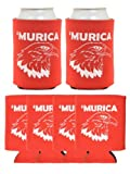 Murica Bald Eagle 6 Pack Can Coolies Red