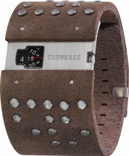 Converse Men's VR020200 Frontman Black Analog Dial and Brown Leather Silver Stud Detail Strap Watch