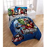 1 X Disney Marvel Avengers Assemble 5pc Full Bedding Comforter & Sheet Set