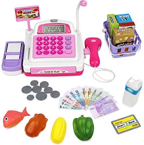 Click N' Play Pretend Play Electronic Calculator Cash Register with Realistic ACTIONS & Sounds (Pink) Toy (Count And Play Cash Register compare prices)