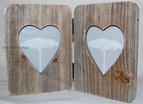 DOUBLE HINGED WOODEN HEART PHOTO FRAME BY COUNTRYSIDE