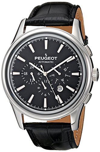Peugeot Automatic MK910SBK Men's Silver Stainless Steel Multifunction Black Leather Watch